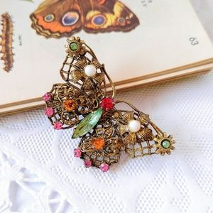 RARE Vintage Jeweled Butterfly Brooch-Pin-Brass